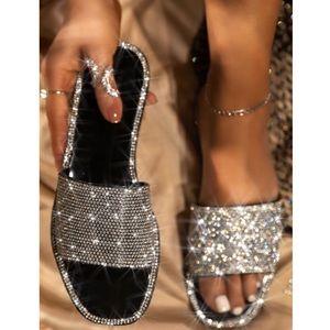 Shoes - Black Jelly Rhinestone Band Slip On Sandal